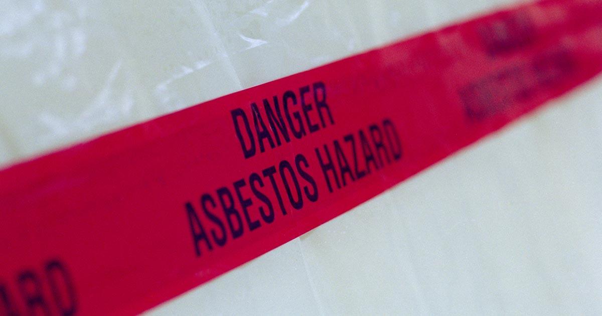 Danger asbestos hazard tape zone