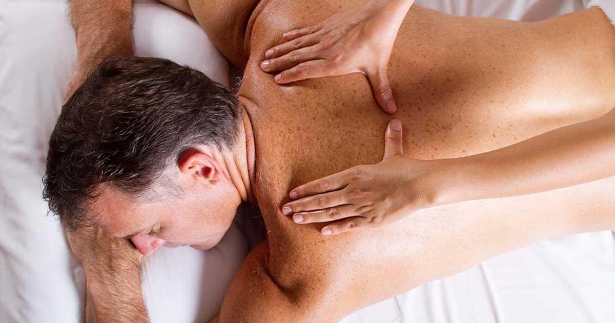 Senior gentleman receiving a back massage