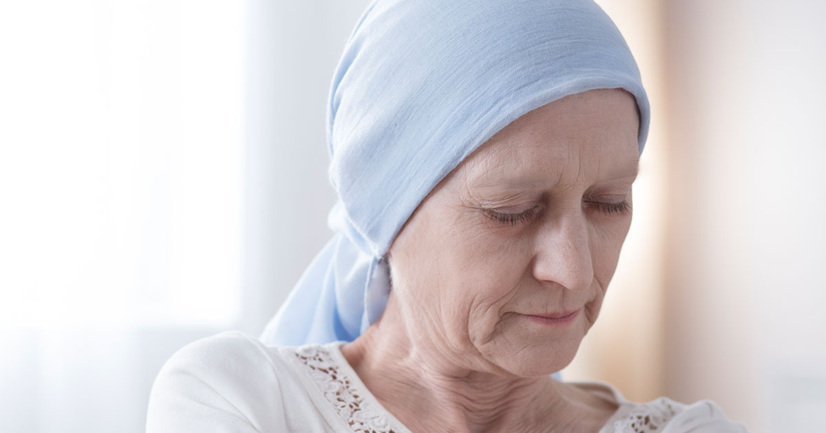 Female senior cancer patient looking frustrated