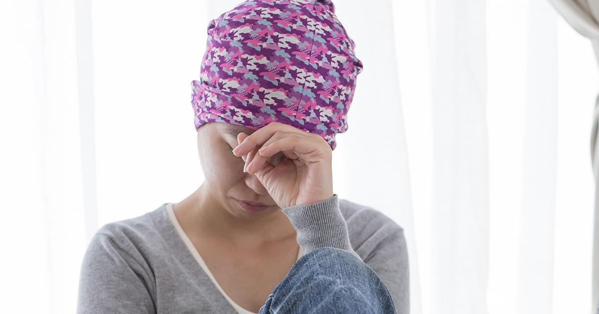 Female cancer patient is stressed out