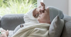 Female senior cancer patient is fatigued
