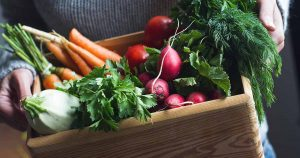 Wooden box of vegetables