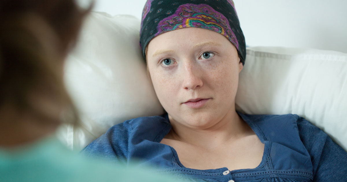 Female cancer patient looking depressed