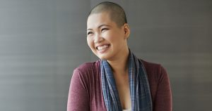 Female cancer patient smiling